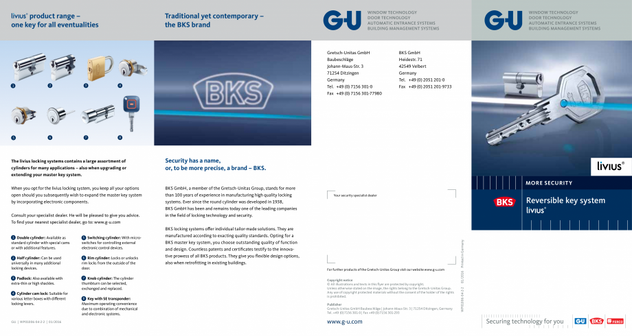 Pagina 1 - Sistem de inchidere cu cheie reversibila Livius G-U BKS CILINDRI MECATRONICI Fisa tehnica...