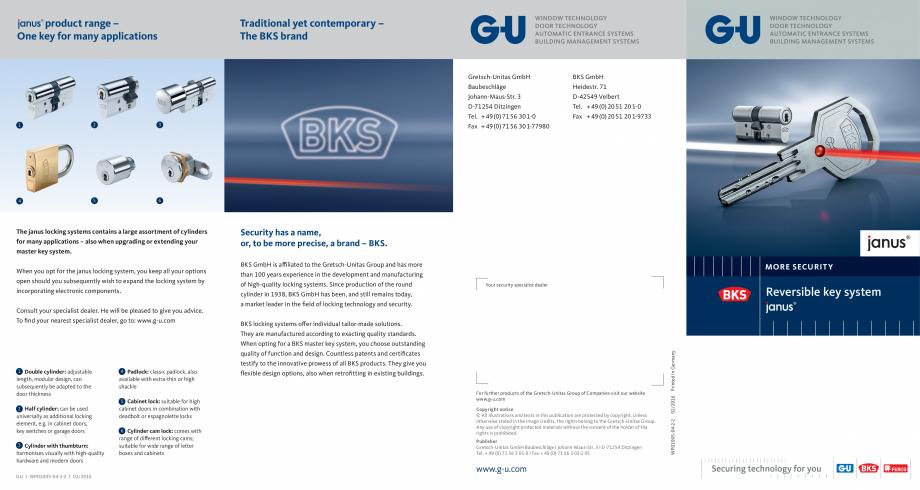 Pagina 1 - Sistem de inchidere cu cheie reversibila Janus G-U BKS CILINDRI MECATRONICI Fisa tehnica ...
