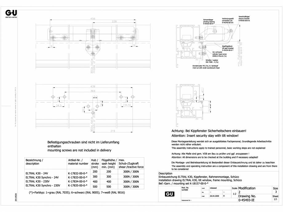 Pagina 1 - CAD-DWG Desen tehnic nr. 0-45493-IE - K30 RWA G-U BKS Detaliu de produs