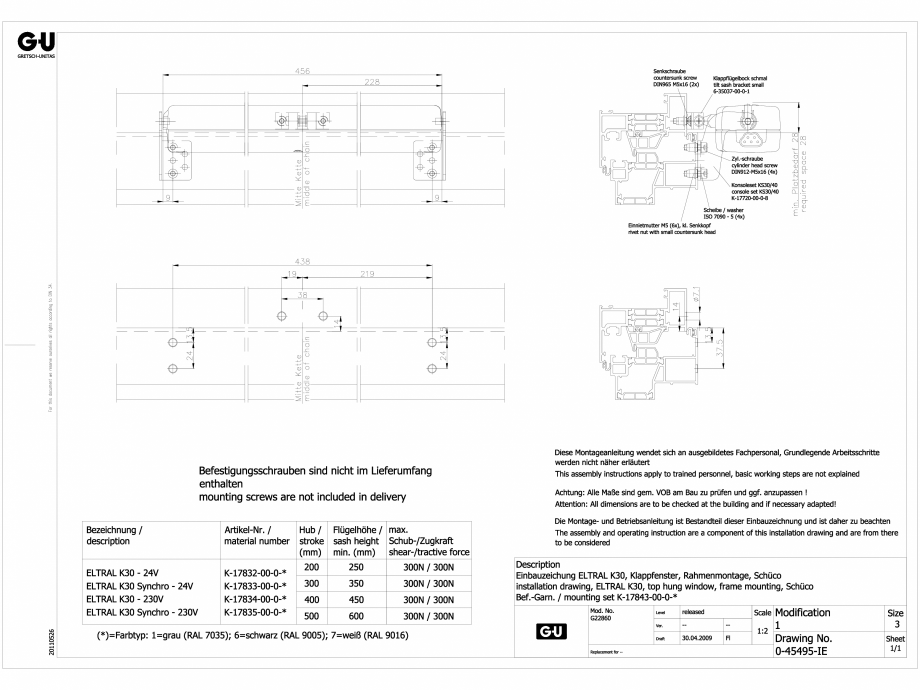 Pagina 1 - CAD-DWG Desen tehnic nr. 0-45495-IE - K30 RWA G-U BKS Detaliu de produs