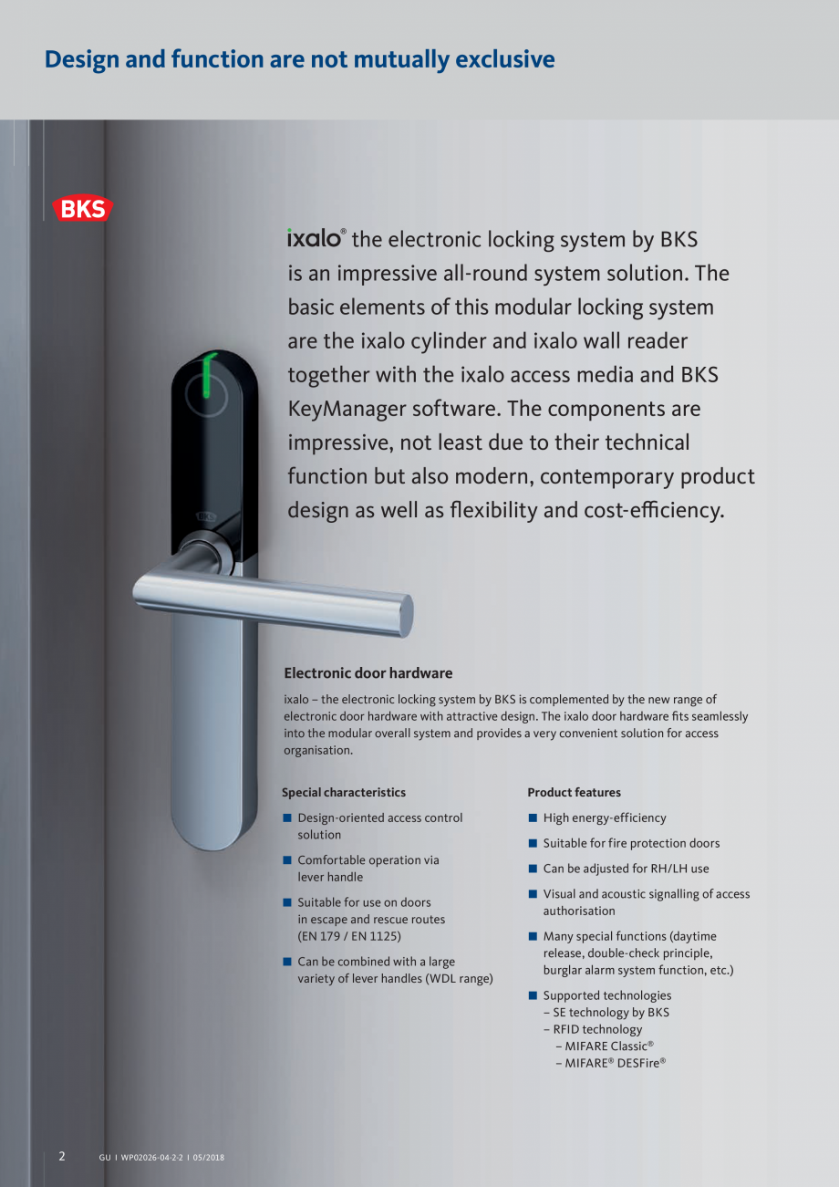 Pagina 2 - Sistem de inchidere electronic ixalo  G-U BKS Catalog, brosura Engleza for use on doors...