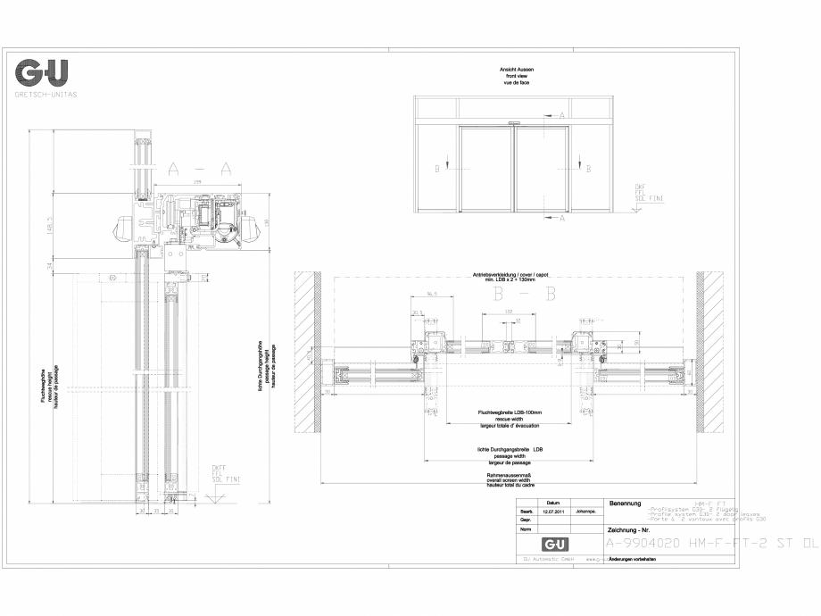 Pagina 1 - CAD-DXF Desen tehnic nr. A-9904020 - Profil G30, 2 usi, 2 ST OL GU Automatic Detaliu de...