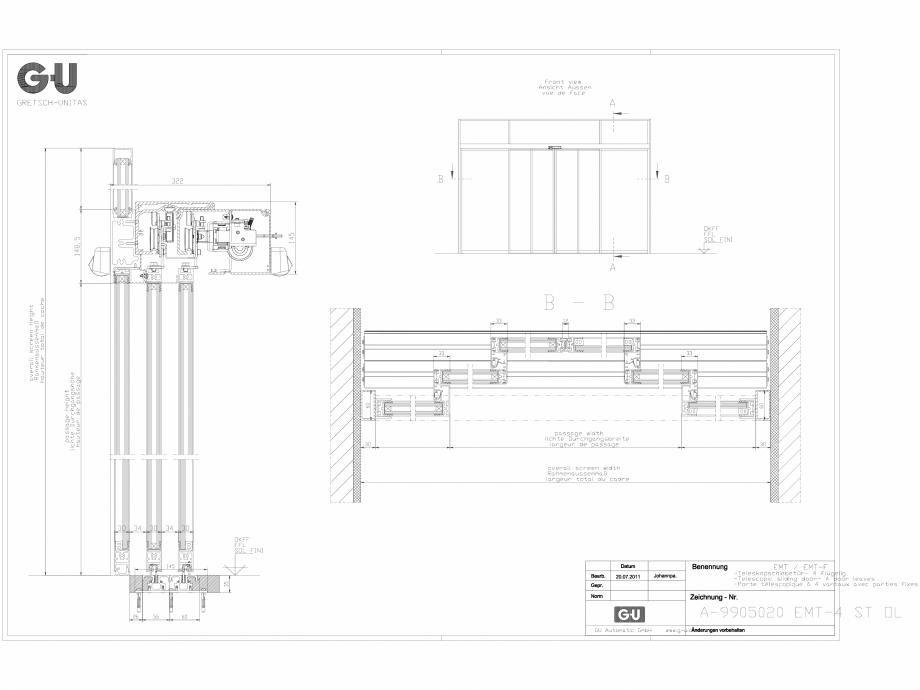 Pagina 1 - CAD-DXF Desen tehnic nr. A-9905020 - Usa telescopica cu 4 sectiuni, EMT 4 ST OL GU...