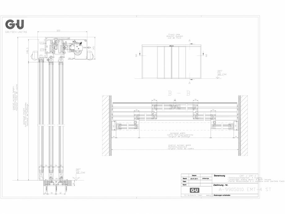 Pagina 1 - CAD-DXF Desen tehnic nr. A-9905010 - Usa telescopica cu 4 sectiuni, EMT 4 ST GU Automatic...