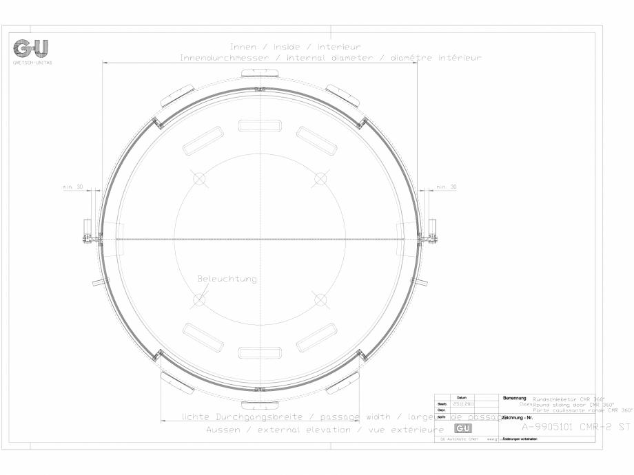 Pagina 1 - CAD-DXF Desen tehnic nr. A-9905101 - Usa glisanta curbata CMR 2 ST GU Automatic Detaliu...