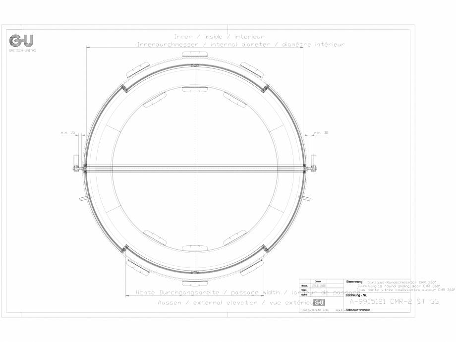 Pagina 1 - CAD-DXF Desen tehnic nr. A-9905121 - Usa glisanta din sticla, CMR 2 ST GG GU Automatic...