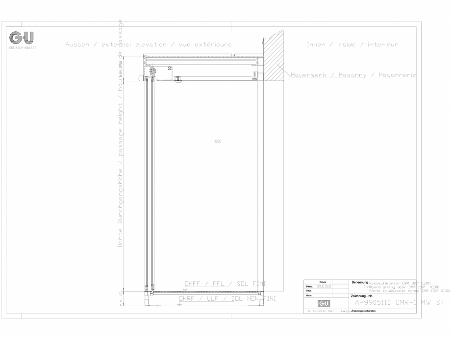 Pagina 1 - CAD-DXF Desen tehnic nr. A-9905110 - Usa glisanta curbata CMR 1 MW ST GU Automatic...