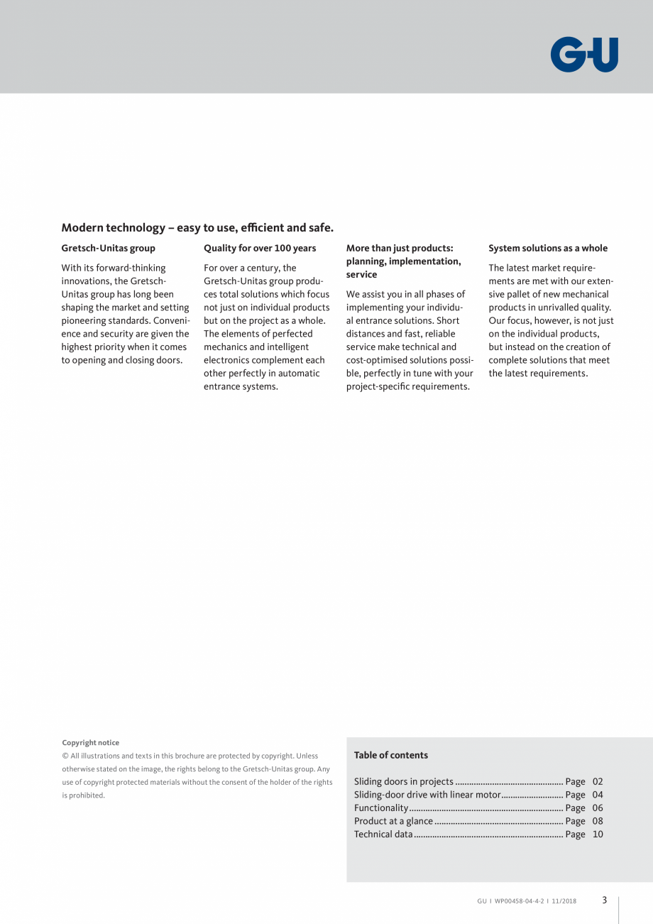 Pagina 3 - Automatizari pentru usi glisante - GS 60 GU Automatic Fisa tehnica Engleza hout the...