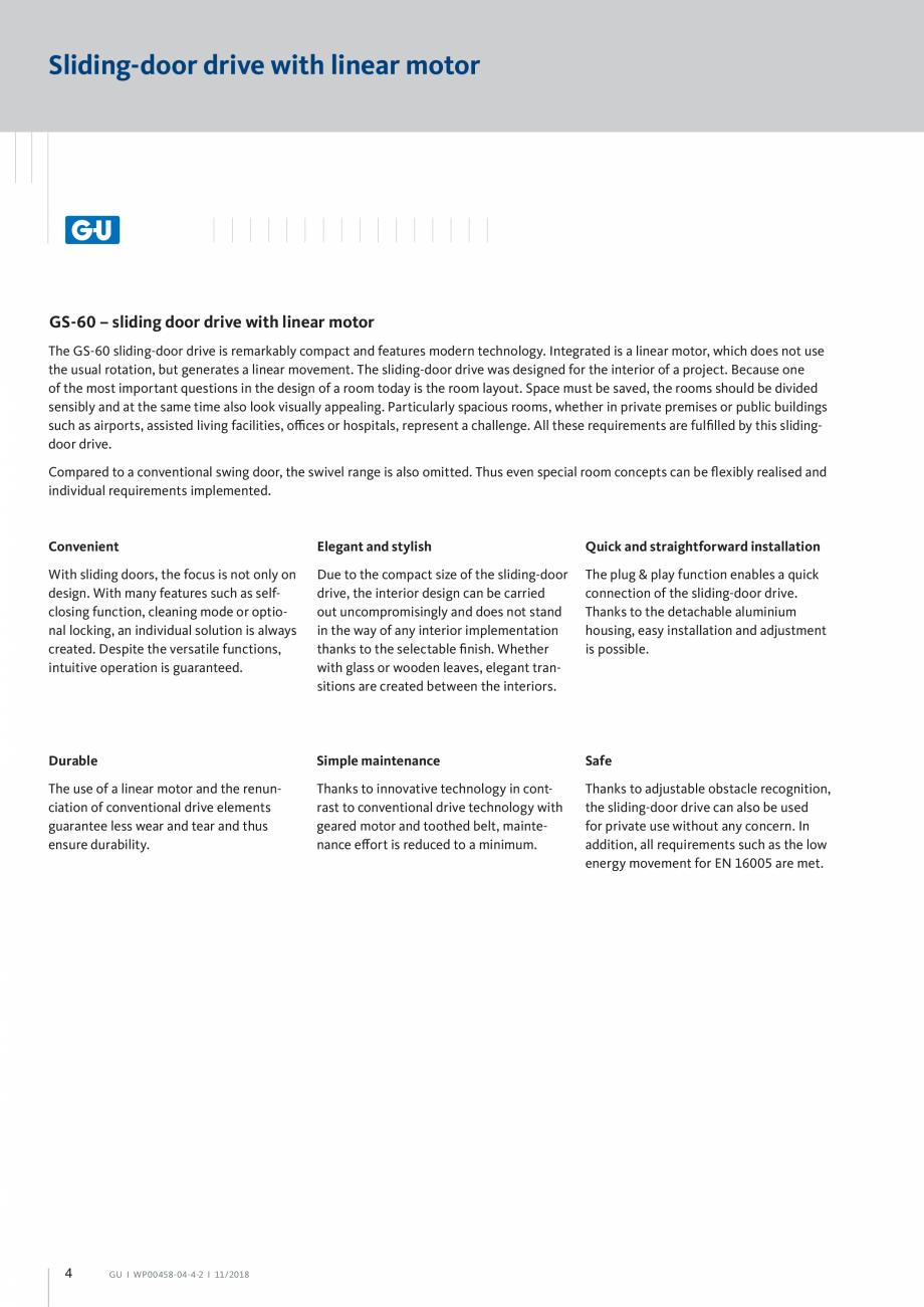 Pagina 4 - Automatizari pentru usi glisante - GS 60 GU Automatic Fisa tehnica Engleza nsibly and at ...