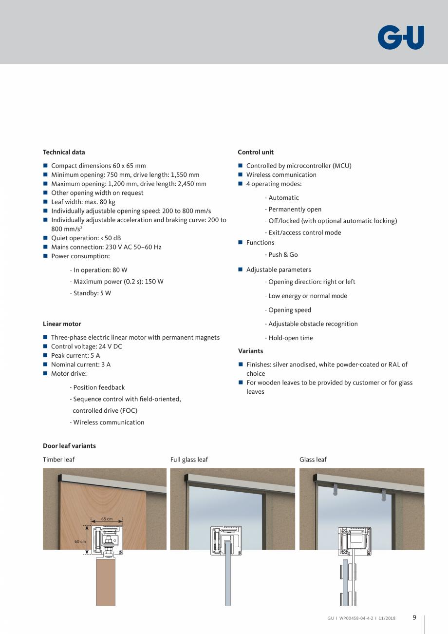 "Pagina 9 - Automatizari pentru usi glisante - GS 60 GU Automatic Fisa tehnica Engleza ants """"..."