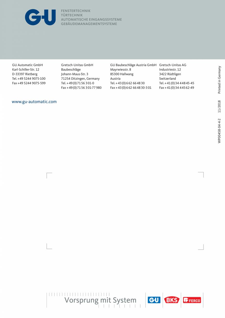 Pagina 12 - Automatizari pentru usi glisante - GS 60 GU Automatic Fisa tehnica Engleza