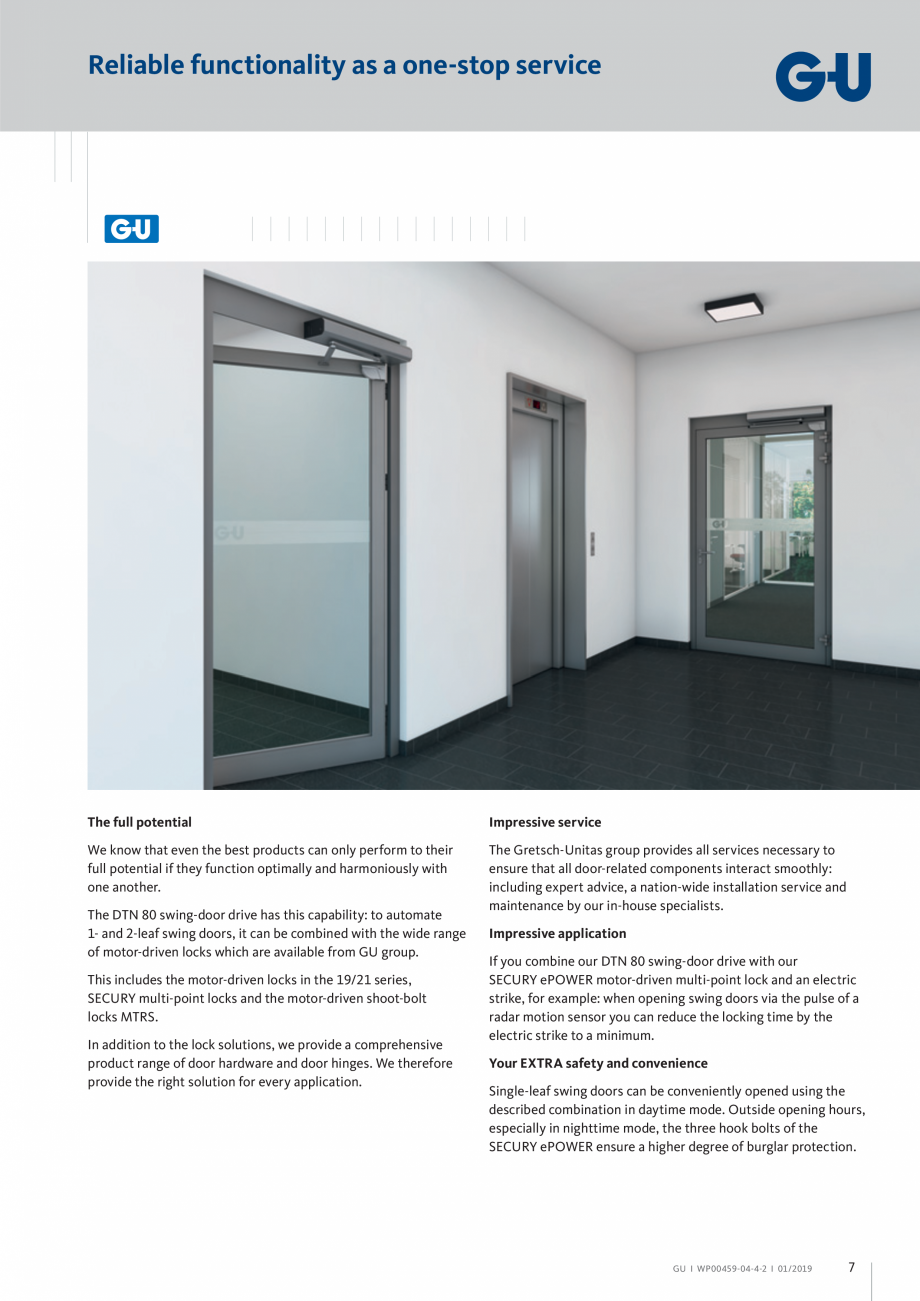 Pagina 7 - Operator pentru usa batanta - DTN 80 GU Automatic Fisa tehnica Engleza swing-door drive: ...