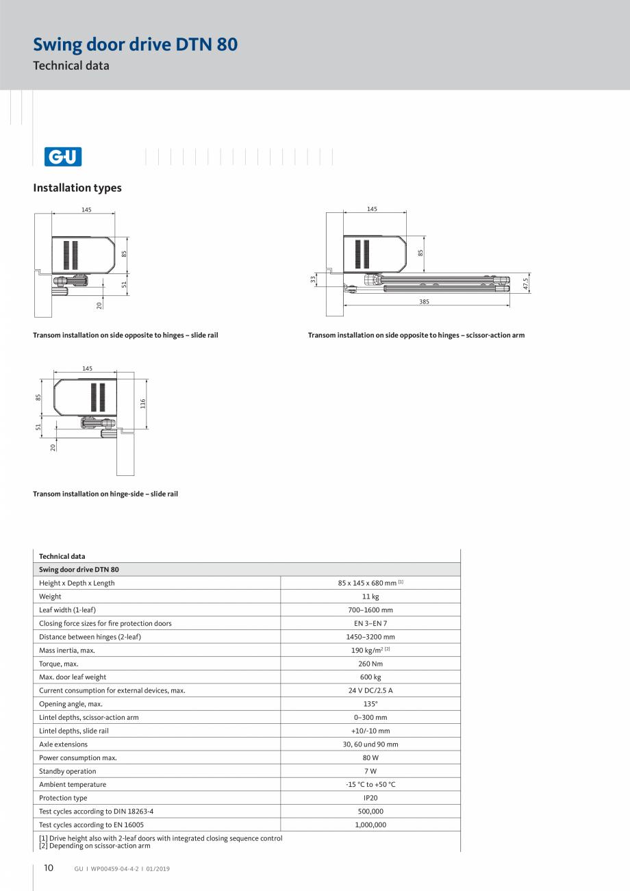 Pagina 10 - Operator pentru usa batanta - DTN 80 GU Automatic Fisa tehnica Engleza on to allow...