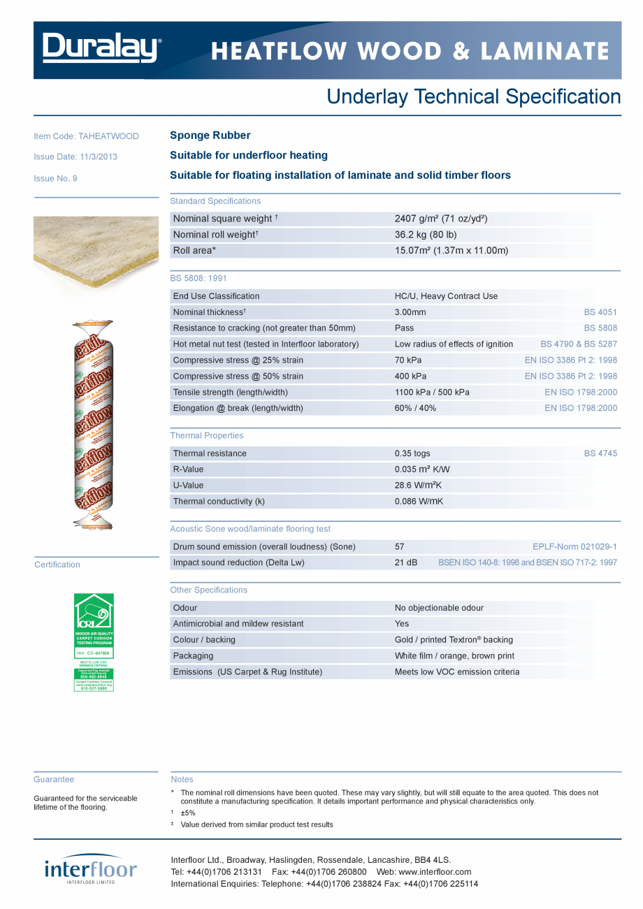 Pagina 1 - Suport underlay parchet lemn sau laminat  INTERFLOOR Heatflow Carpet, Heatflow  Fisa...