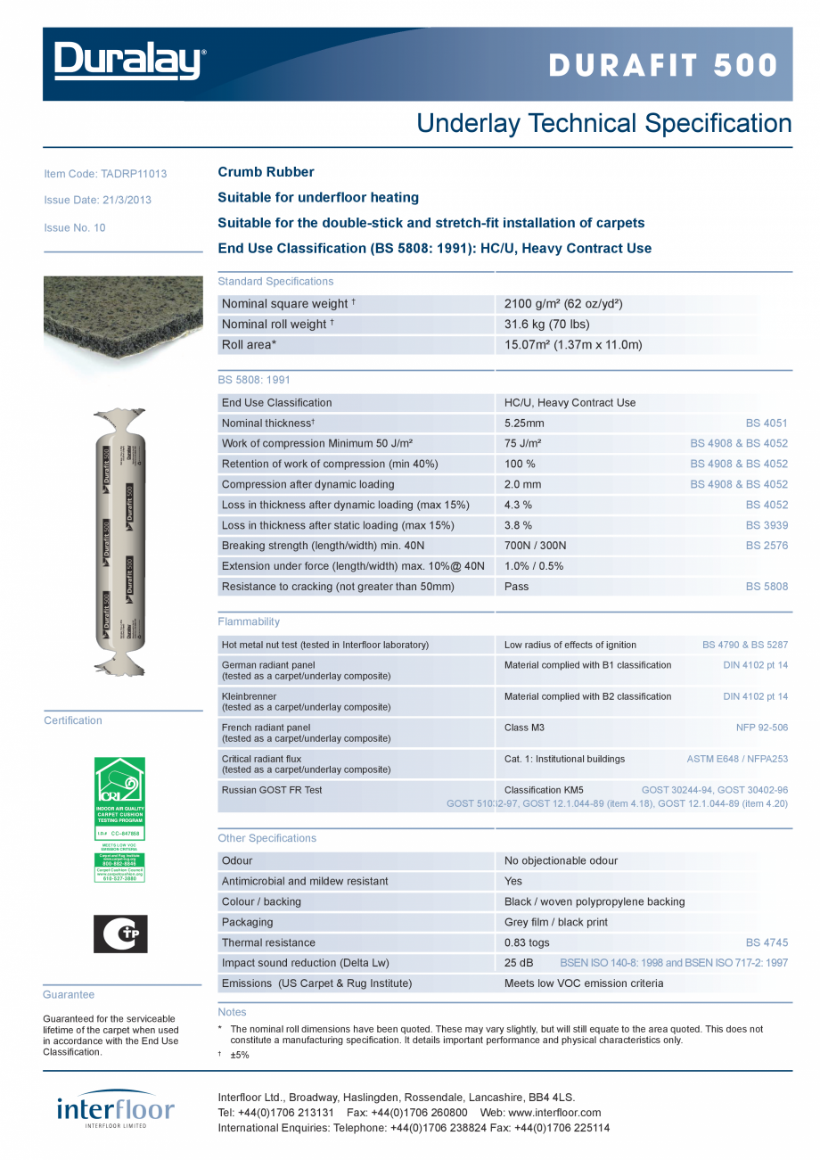 Pagina 1 - Suport underlay pentru mocheta INTERFLOOR Durafit 500 Fisa tehnica Engleza Durafit 500...
