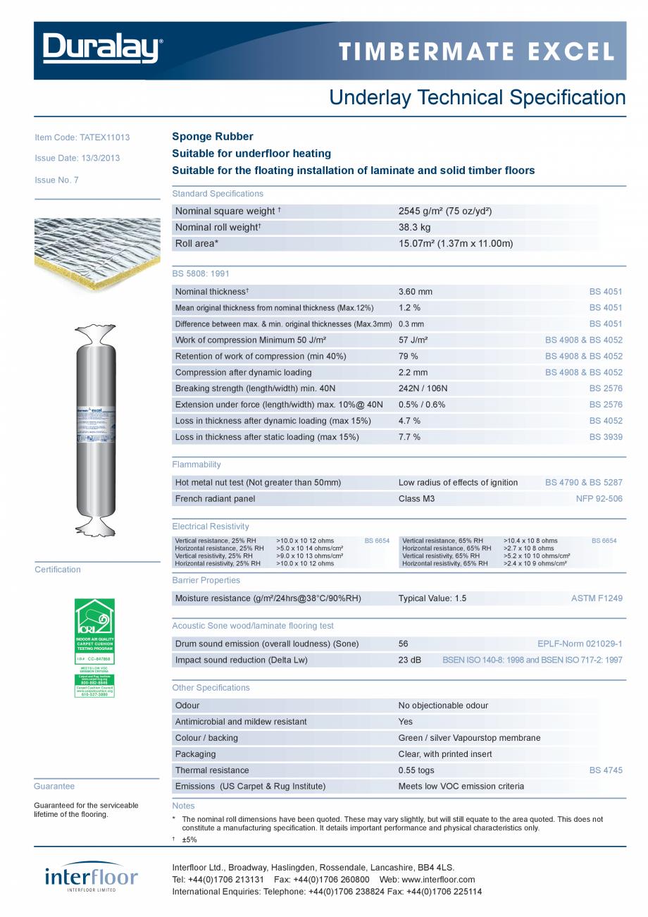 Pagina 1 - Suport underlay pentru parchet INTERFLOOR Timbermate Excel Fisa tehnica Engleza T i m b e...