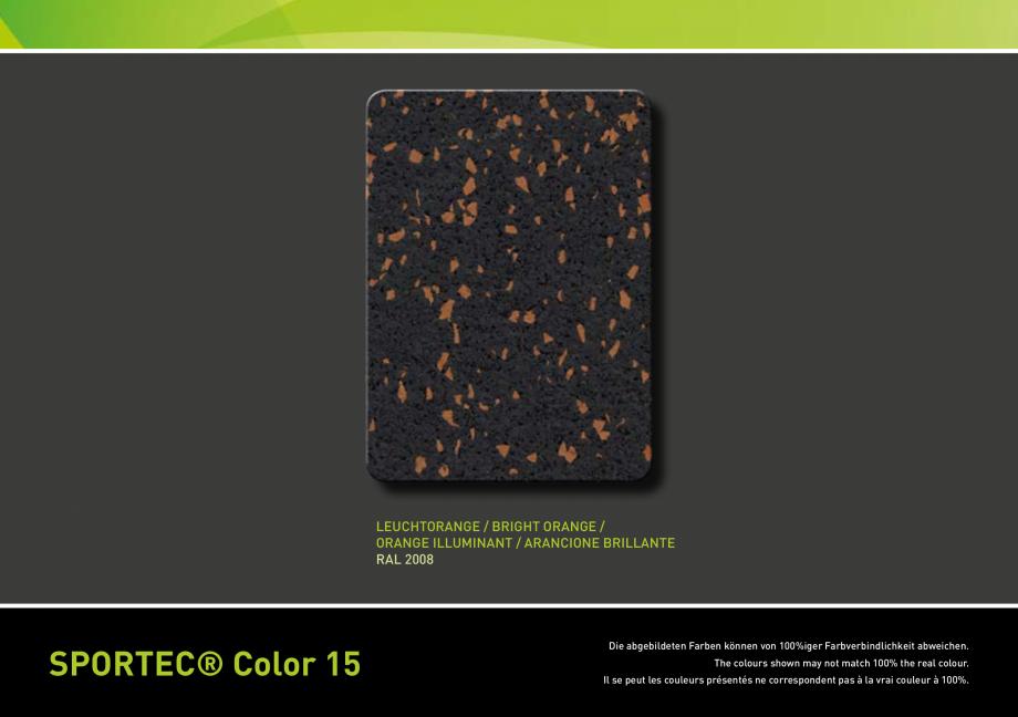 Pagina 4 - Pardoseli din cauciuc - palertar culori Sportec Sportec Color 15 Fisa tehnica Engleza