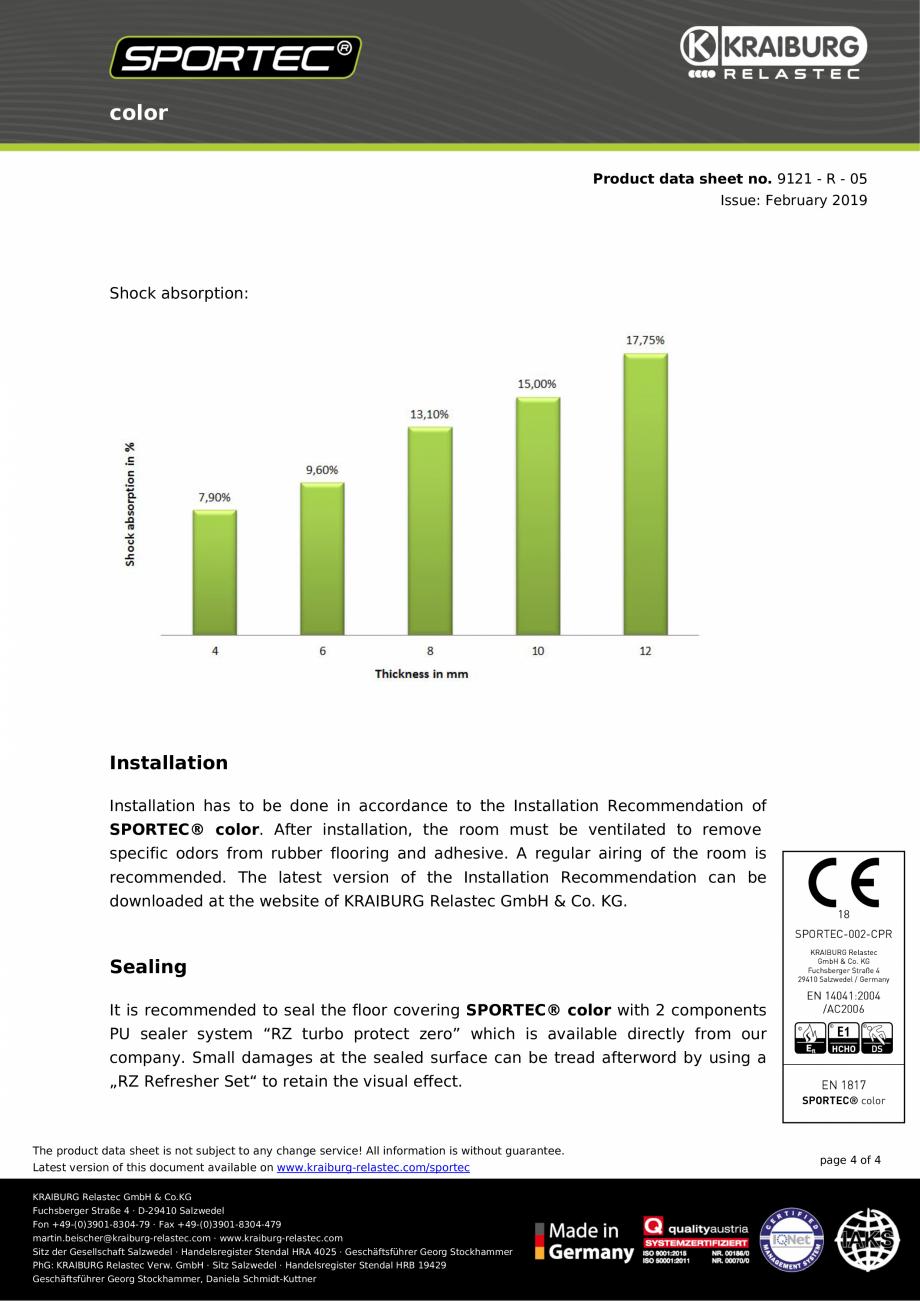Pagina 4 - Pardoseli din cauciuc Sportec Sportec Color 15 Fisa tehnica Engleza  GmbH · Sitz...