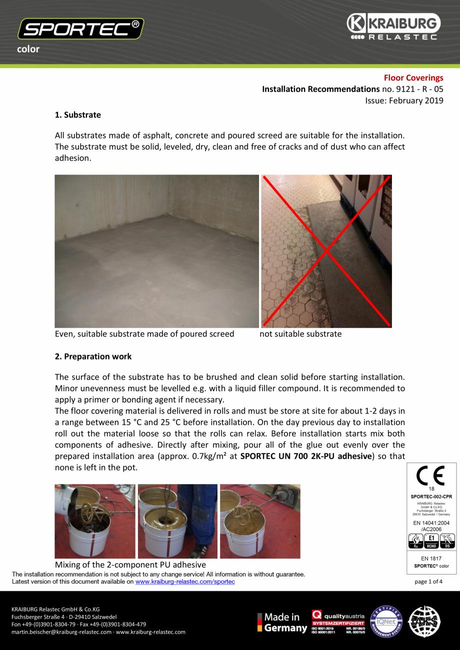Pagina 1 - Recomandari de instalare pentru pardoseli din cauciuc  Sportec Sportec Color 15...