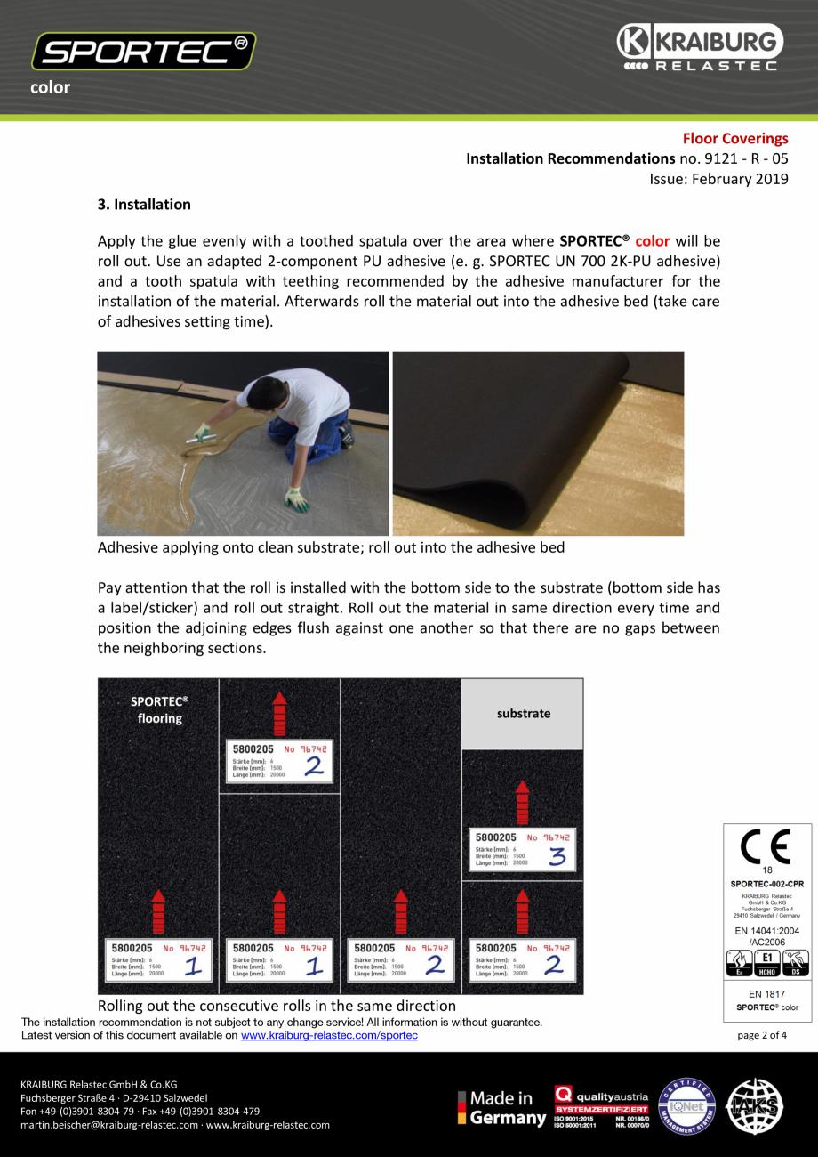 Pagina 2 - Recomandari de instalare pentru pardoseli din cauciuc  Sportec Sportec Color 15...