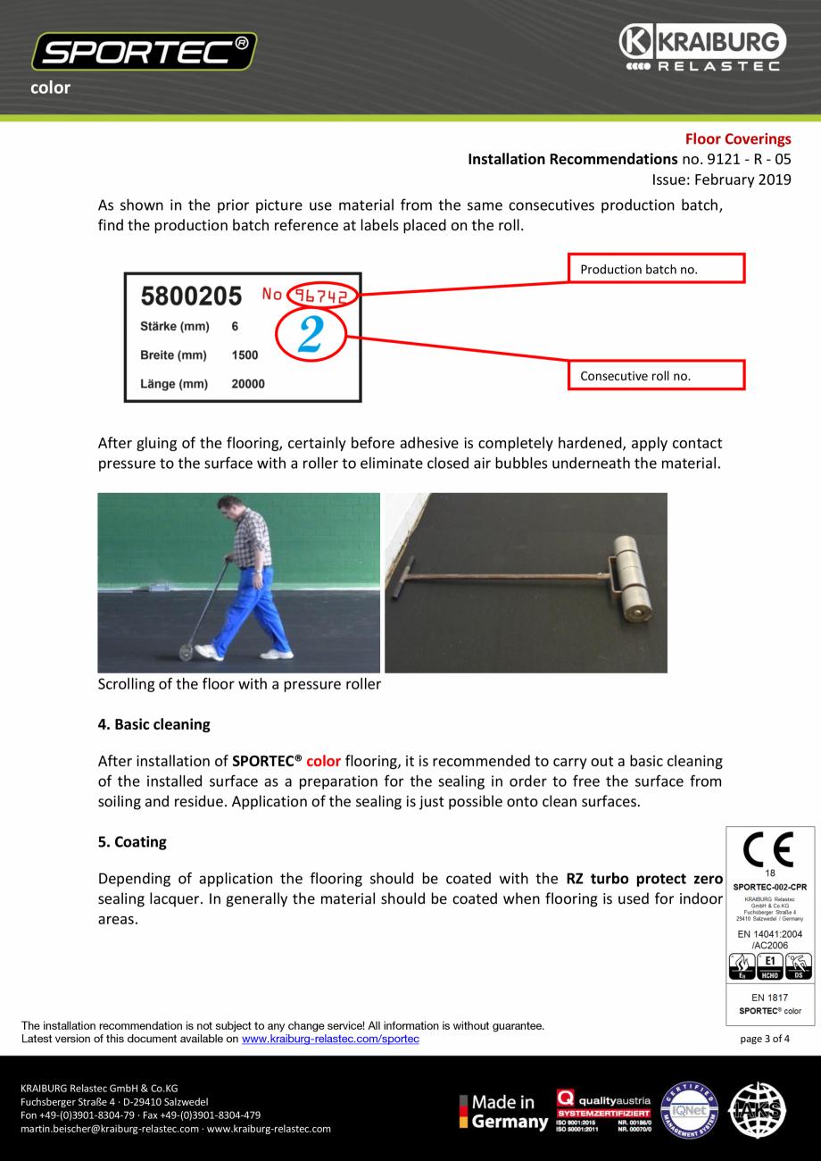 Pagina 3 - Recomandari de instalare pentru pardoseli din cauciuc  Sportec Sportec Color 15...