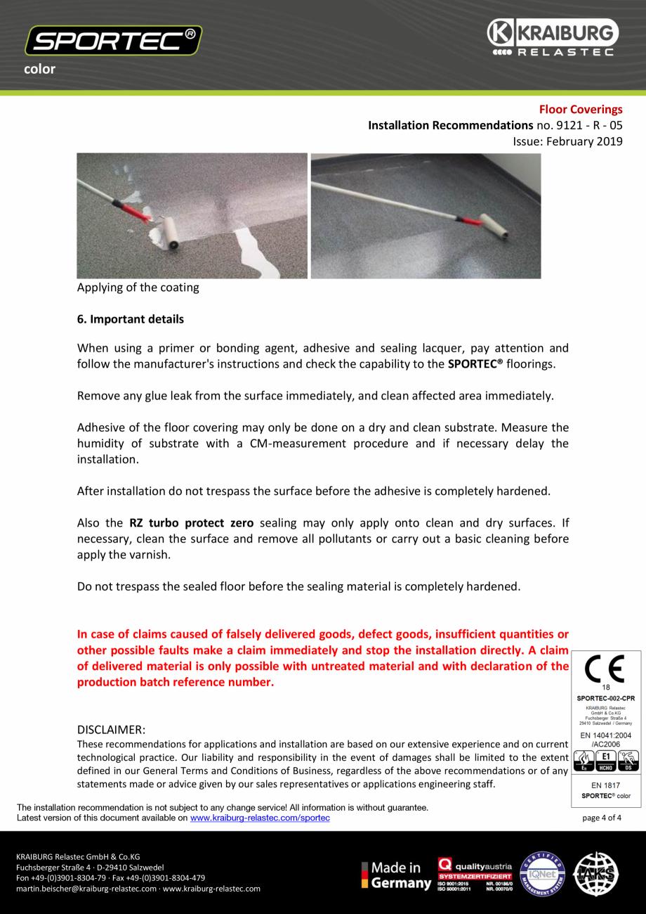 Pagina 4 - Recomandari de instalare pentru pardoseli din cauciuc  Sportec Sportec Color 15...