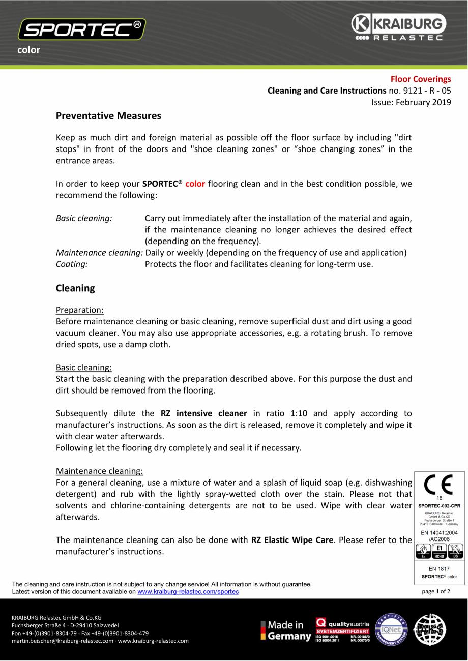 Pagina 1 - Instructiuni de curatare si ingrijire pentru pardoseli din cauciuc  Sportec Sportec Color...