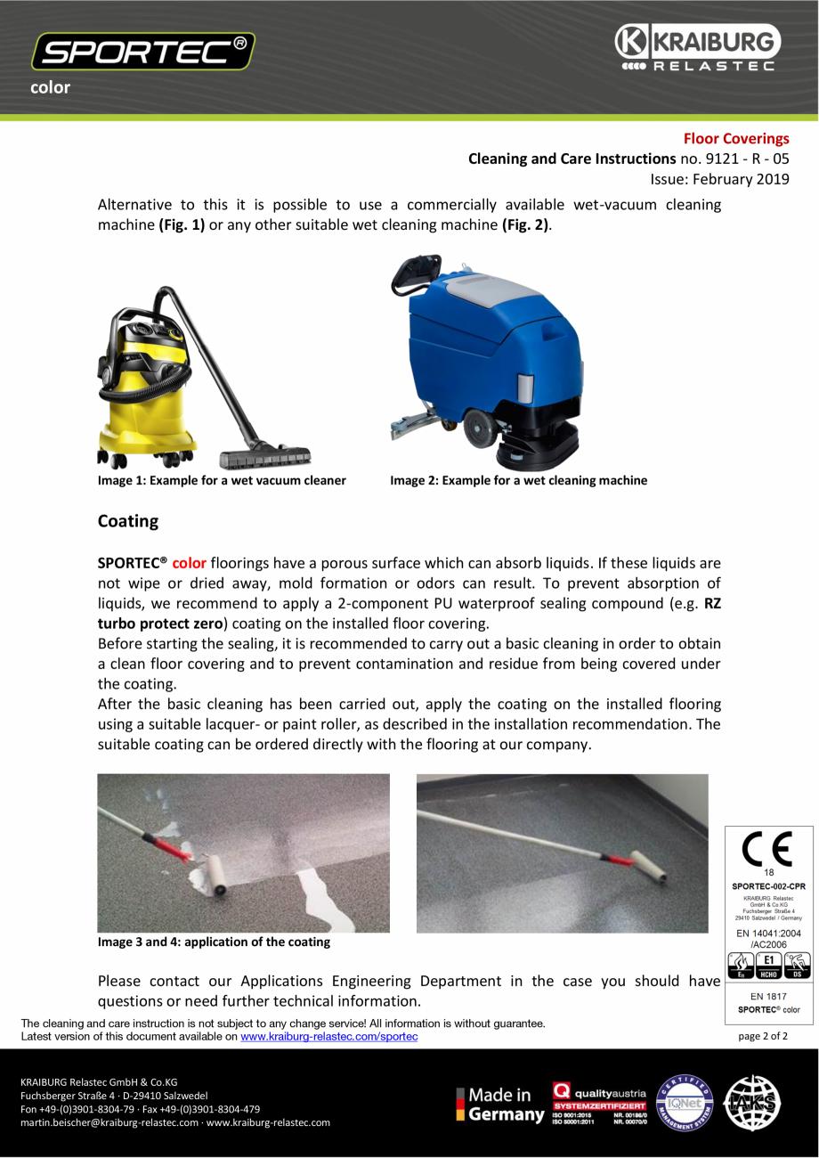 Pagina 2 - Instructiuni de curatare si ingrijire pentru pardoseli din cauciuc  Sportec Sportec Color...