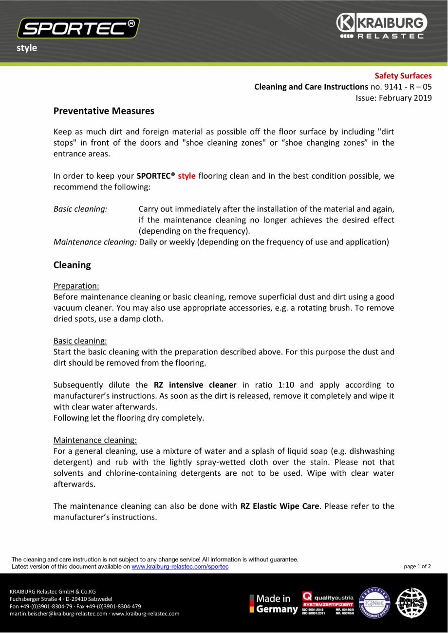 Pagina 1 -  Instructiuni de curatare si ingrijire pentru dalele din cauciuc  Sportec Sportec Style...