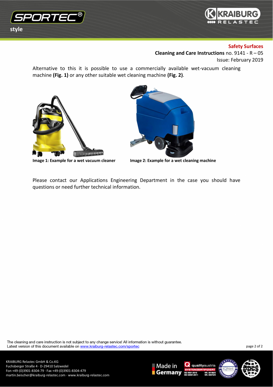 Pagina 2 -  Instructiuni de curatare si ingrijire pentru dalele din cauciuc  Sportec Sportec Style...