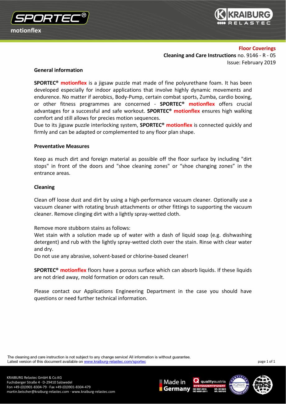 Pagina 1 - Instructiuni de curatare si ingrijire pentru dalele din cauciuc tip puzzle Sportec...