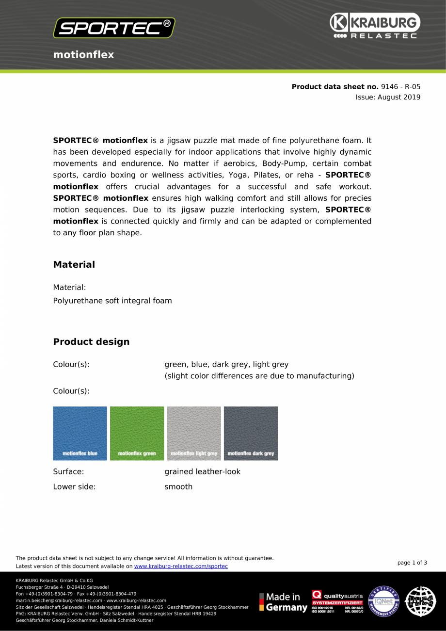 Pagina 1 - Dale din cauciuc tip puzzle Sportec MotionFlex Fisa tehnica motionflex Product data sheet...