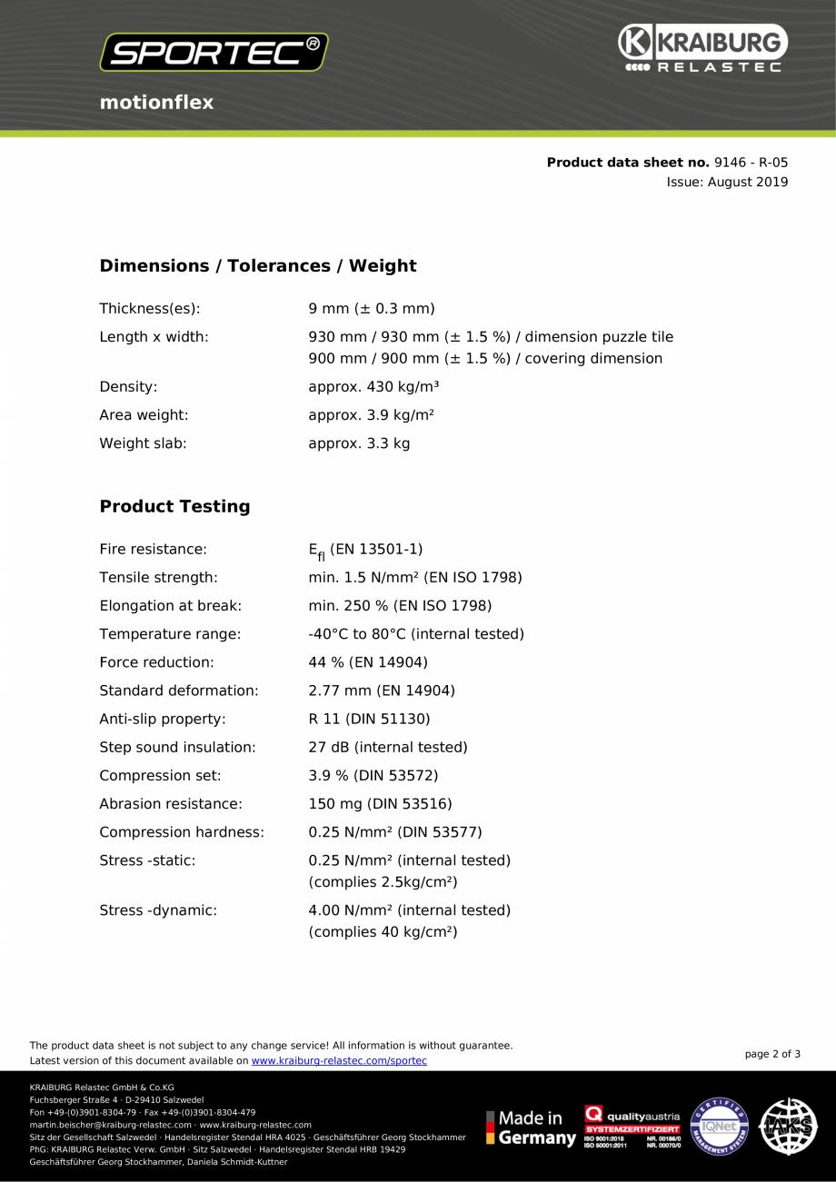 Pagina 2 - Dale din cauciuc tip puzzle Sportec MotionFlex Fisa tehnica ce! All information is...