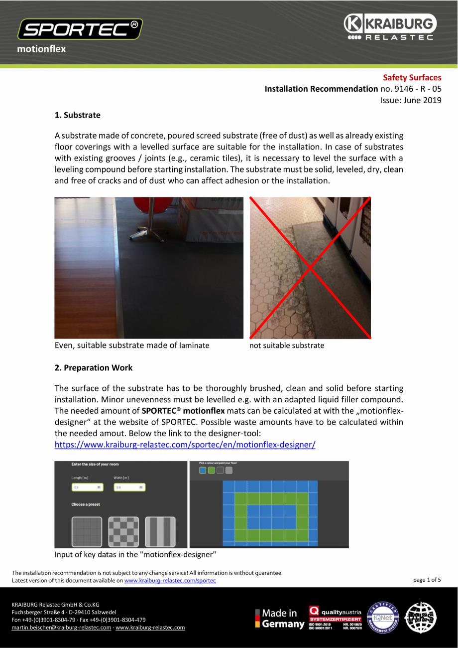 Pagina 1 - Recomandari de instalare pentru dalele din cauciuc tip puzzle Sportec MotionFlex...