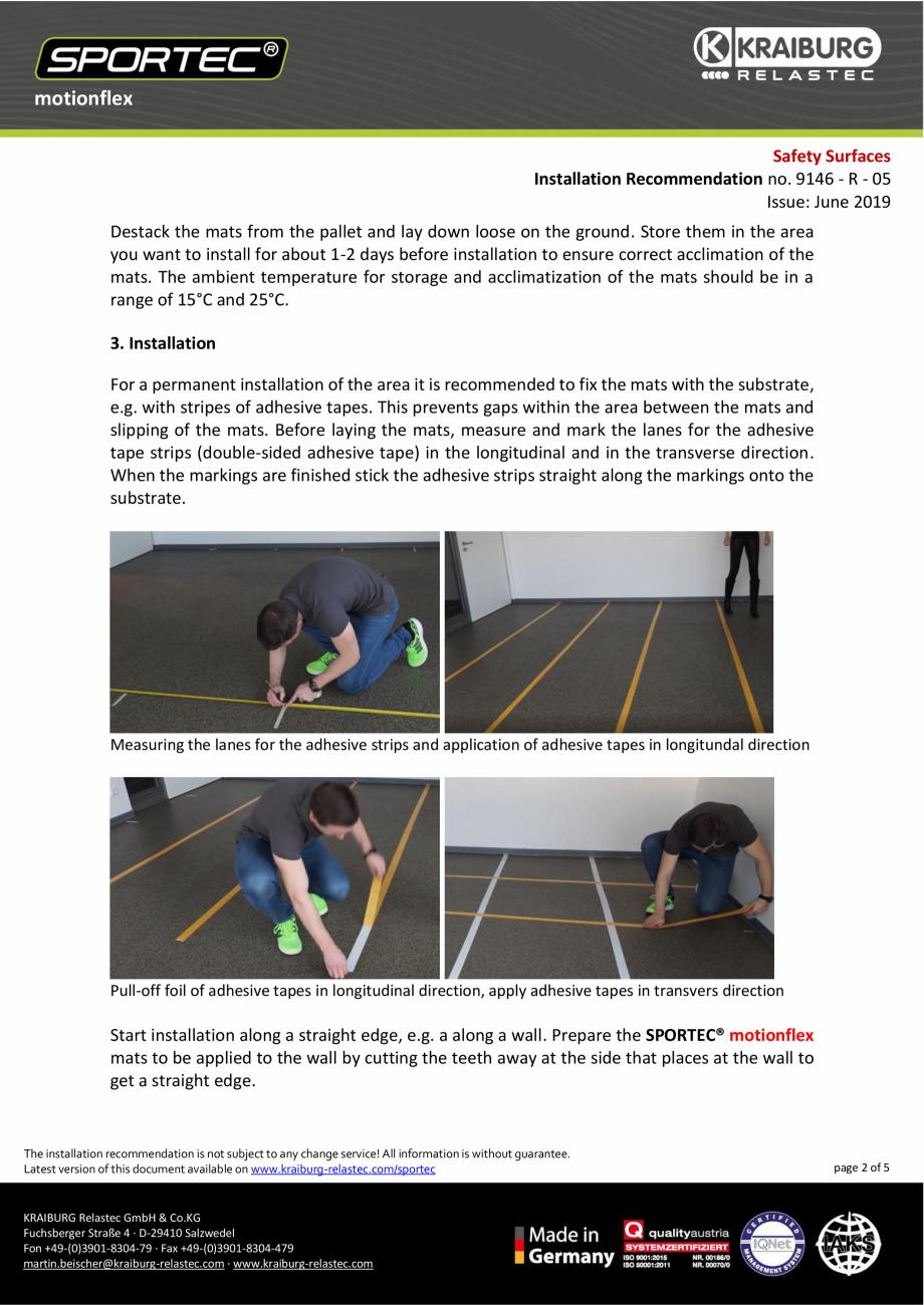Pagina 2 - Recomandari de instalare pentru dalele din cauciuc tip puzzle Sportec MotionFlex...