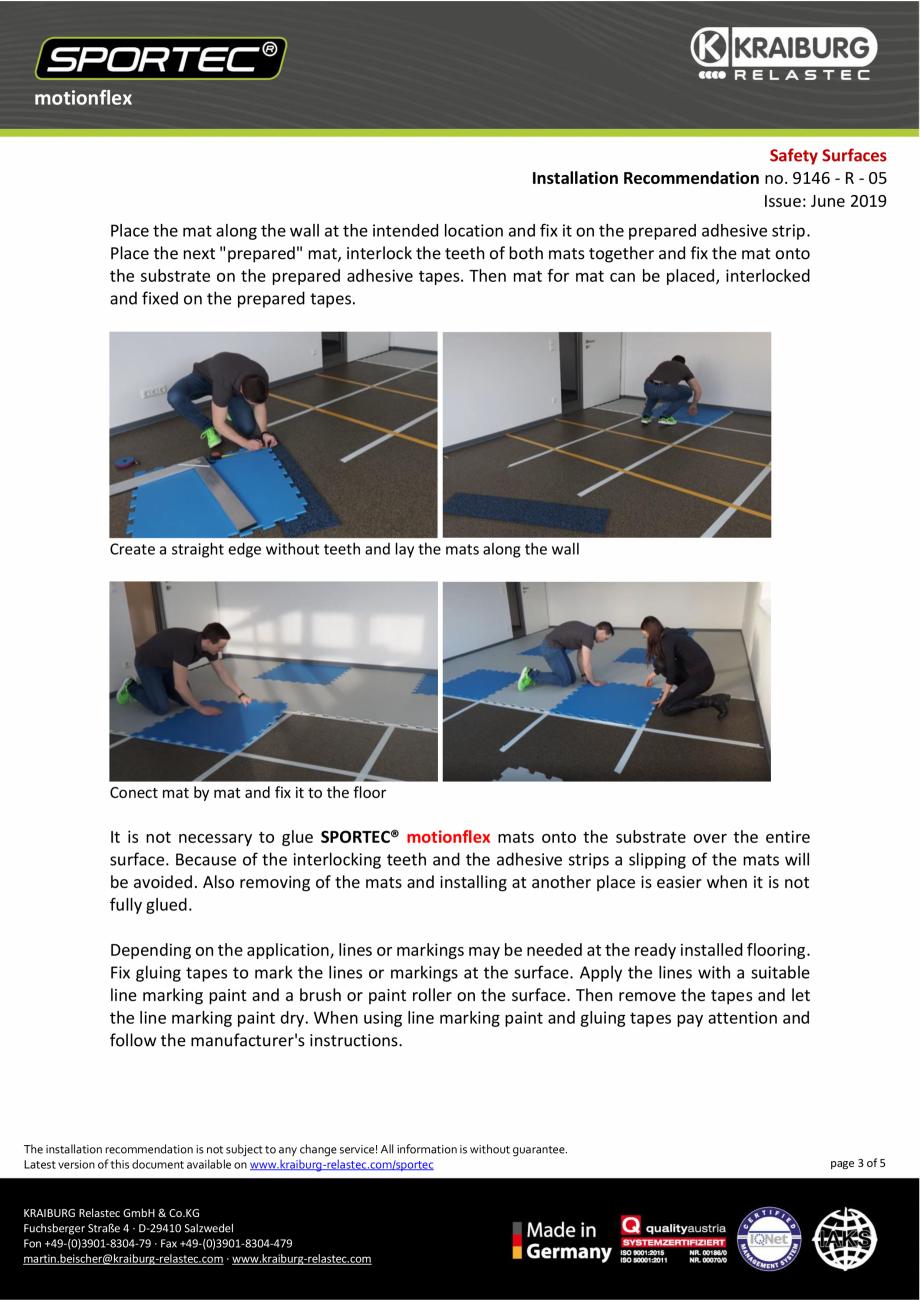 Pagina 3 - Recomandari de instalare pentru dalele din cauciuc tip puzzle Sportec MotionFlex...