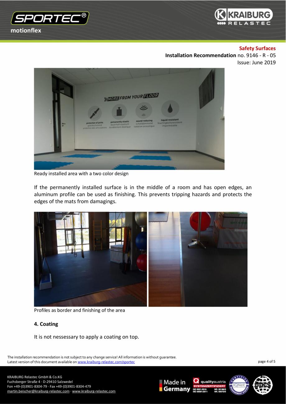 Pagina 4 - Recomandari de instalare pentru dalele din cauciuc tip puzzle Sportec MotionFlex...