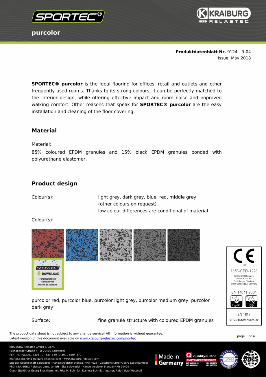 Pagina 1 - Pardoseli din cauciuc Sportec Sportec PurColor Fisa tehnica Engleza purcolor...