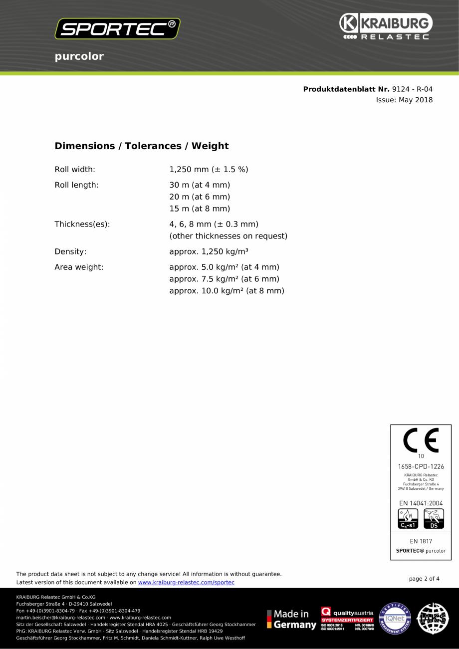 Pagina 2 - Pardoseli din cauciuc Sportec Sportec PurColor Fisa tehnica Engleza able on www...