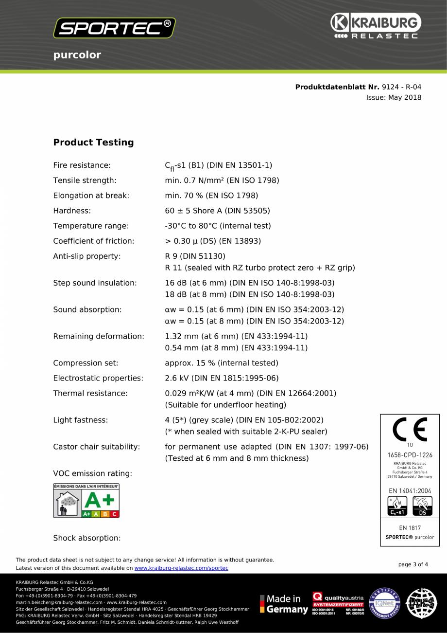 Pagina 3 - Pardoseli din cauciuc Sportec Sportec PurColor Fisa tehnica Engleza ll information is...