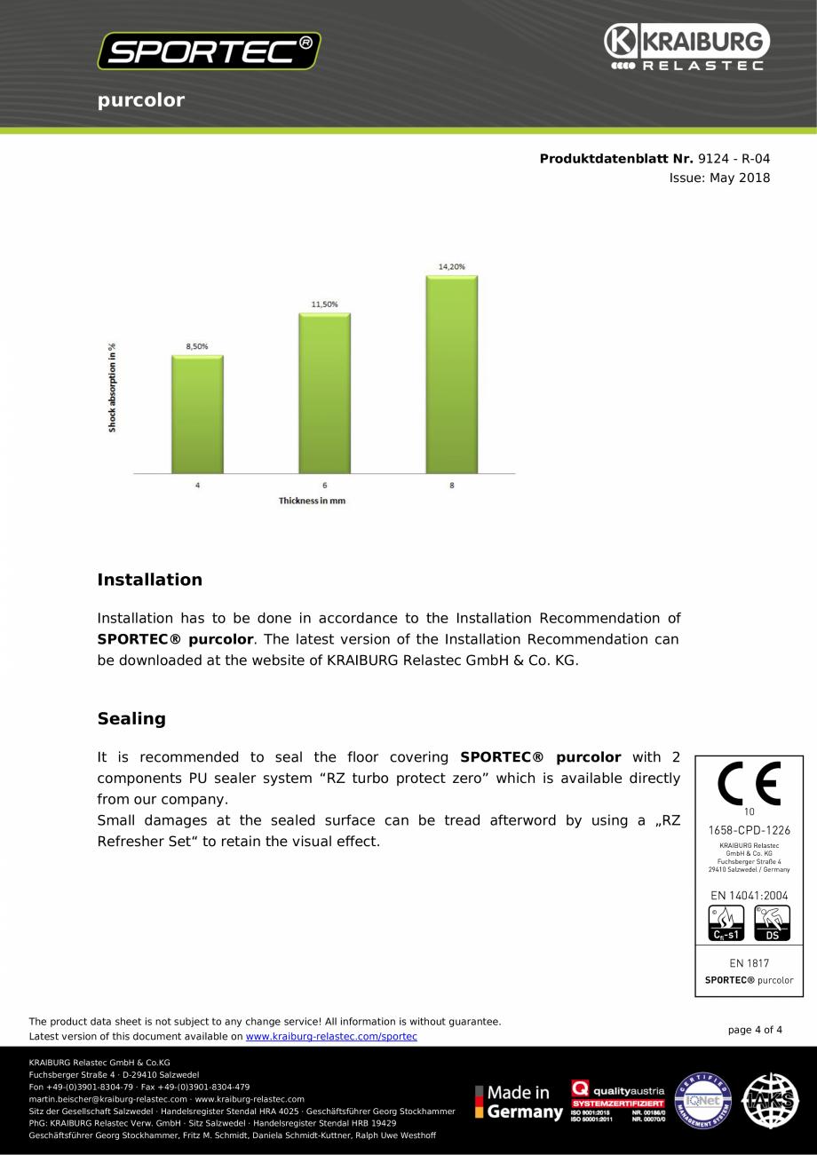 Pagina 4 - Pardoseli din cauciuc Sportec Sportec PurColor Fisa tehnica Engleza rty:  R 9 (DIN 51130)...