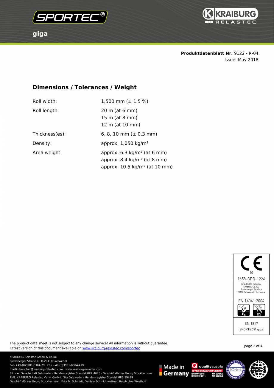 Pagina 2 - Pardoseli din cauciuc - nr 9122  Sportec Sportec Splash si Giga Fisa tehnica Engleza tion...