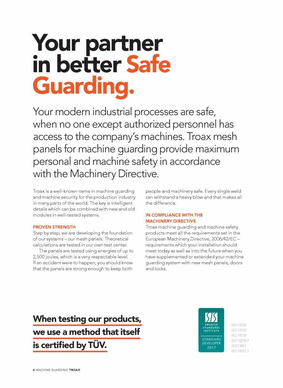 Pagina 6 - Catalog - Garduri pentru spatii de protectie a robotilor sau a utilajelor TROAX Catalog, ...