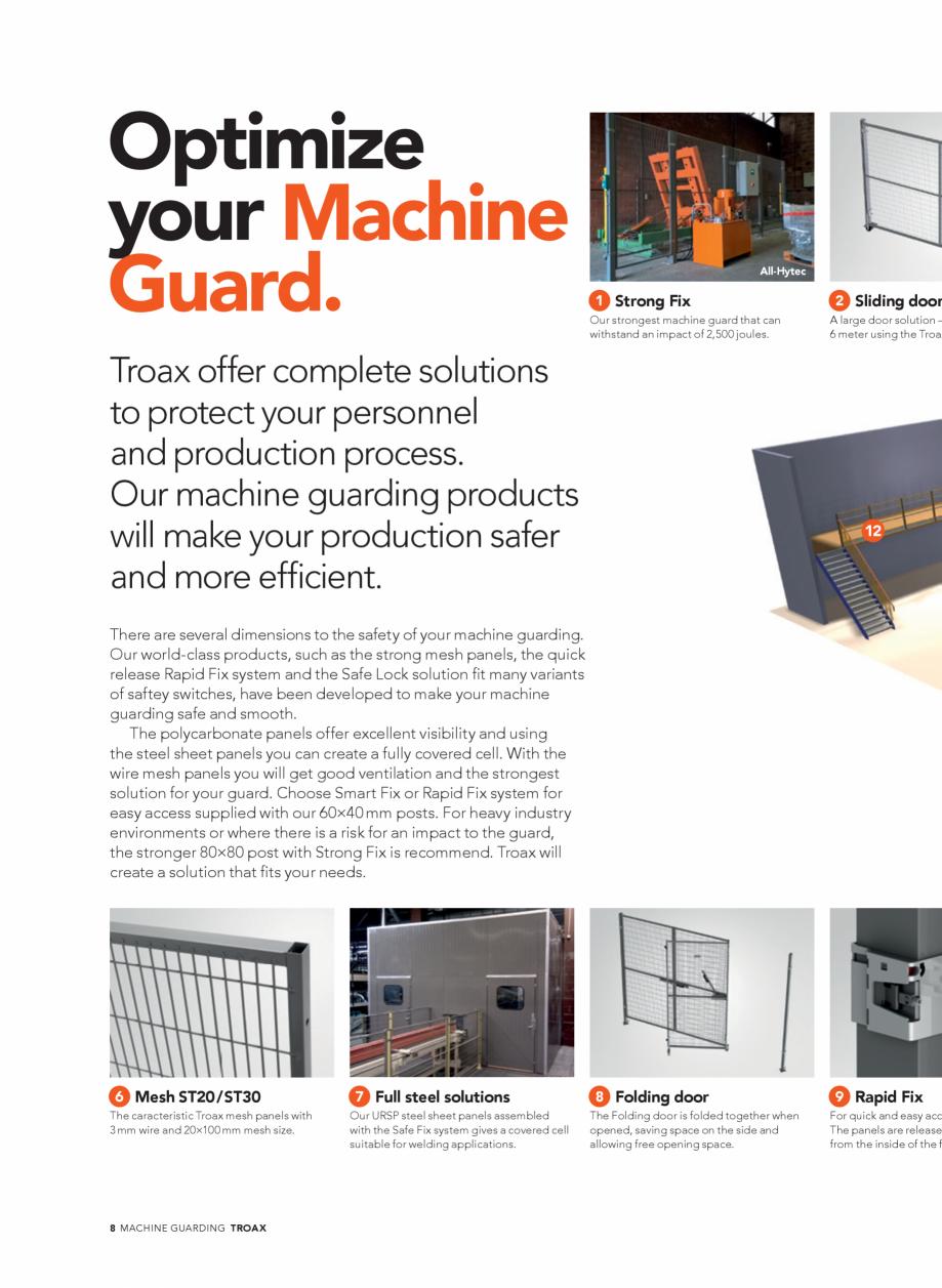 Pagina 8 - Catalog - Garduri pentru spatii de protectie a robotilor sau a utilajelor TROAX Catalog, ...