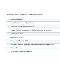 Specificații tehnice pentru setul balama amortizor