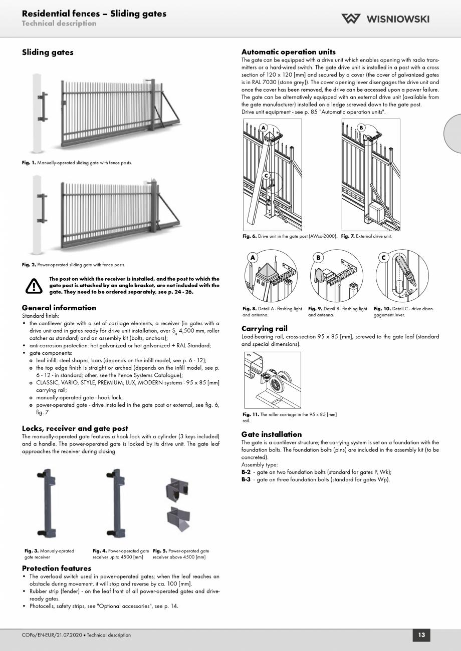 Pagina 1 - Porti rezidentiale Wisniowski Fisa tehnica Engleza Residential fences – Sliding gates...