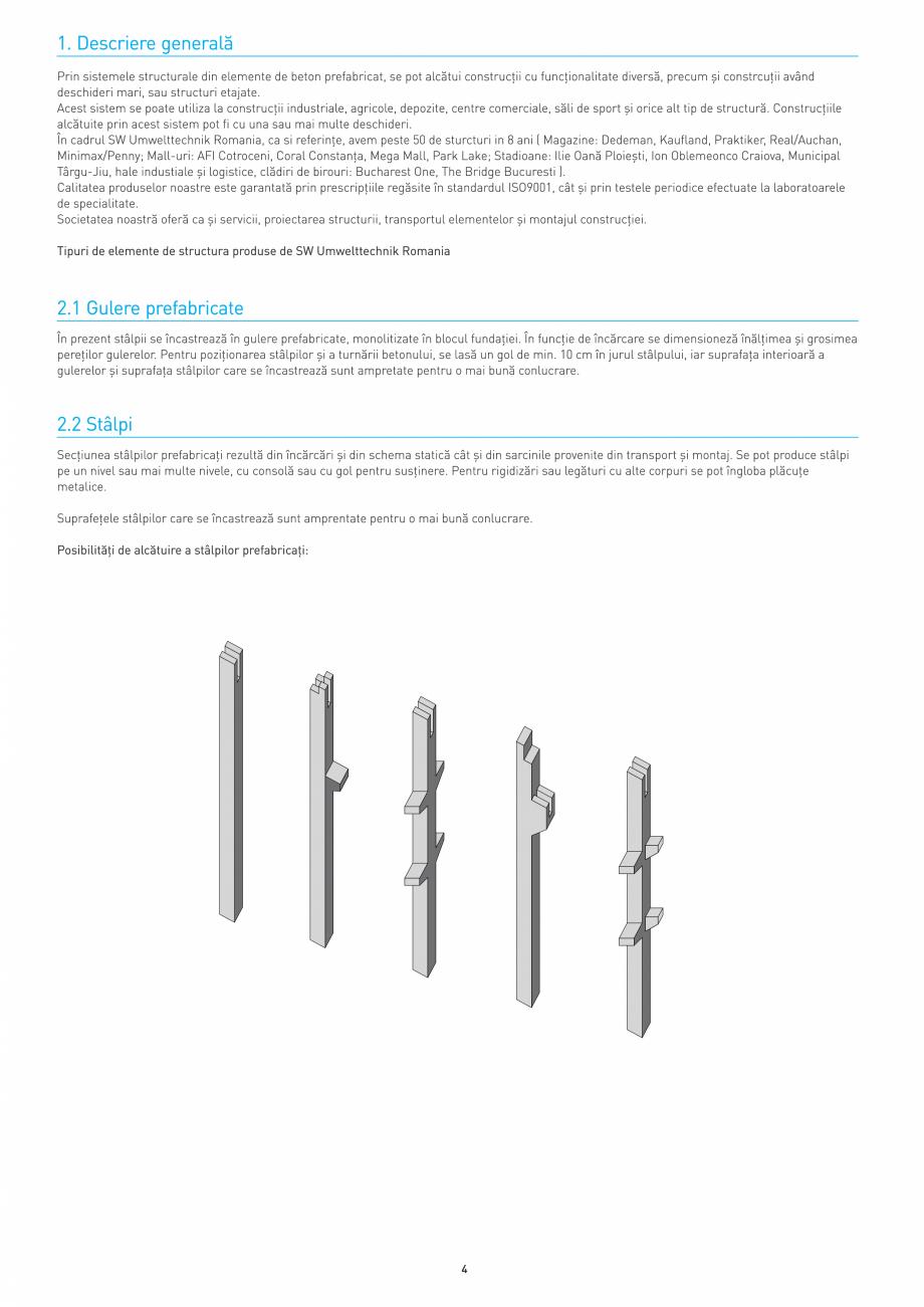Pagina 4 - Structuri constructii SW UMWELTTECHNIK Gulere, Stalpi, Grinzi principale, Grinzi...