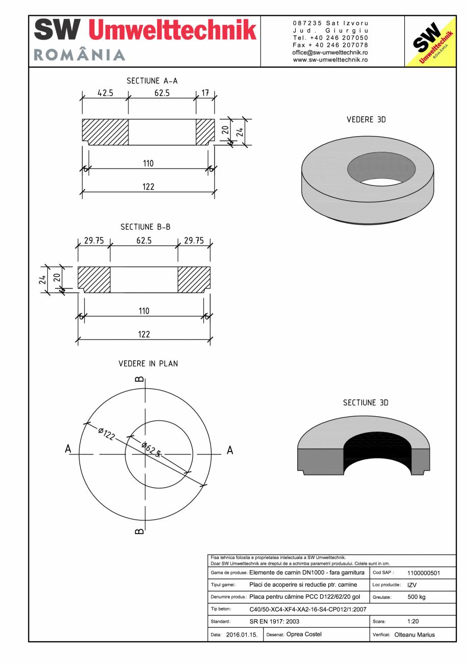 Pagina 1 - CAD-PDF Placa pentru camine PCC D122/62/20 gol SW UMWELTTECHNIK PCC-PNC-PA