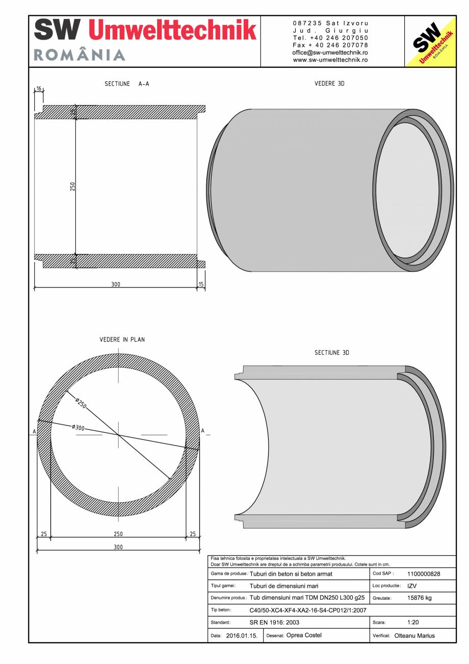 Pagina 1 - CAD-PDF Tub dimensiuni mari TDM DN250 L300 g25 SW UMWELTTECHNIK Detaliu de produs