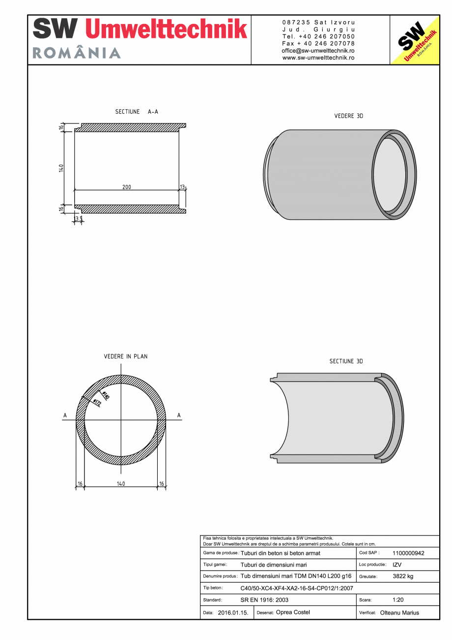 Pagina 1 - CAD-PDF Tub dimensiuni mari TDM DN140 L200 g16 SW UMWELTTECHNIK Detaliu de produs
